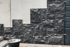 Rubbelmur Svart granit